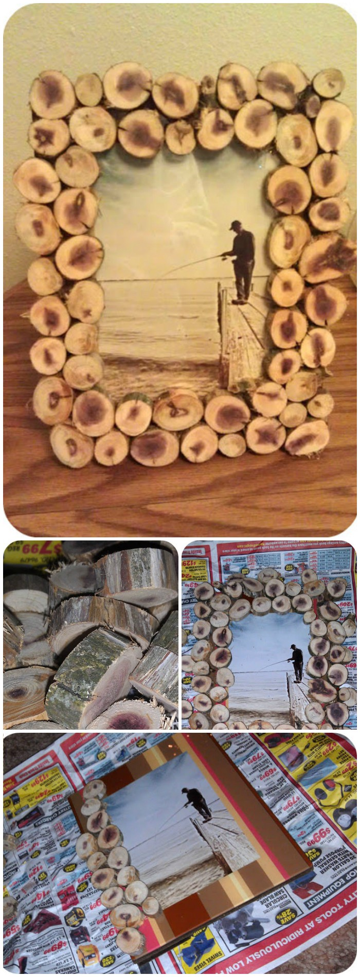 DIY Wood Slice Picture Frame - diy crafts for home decor