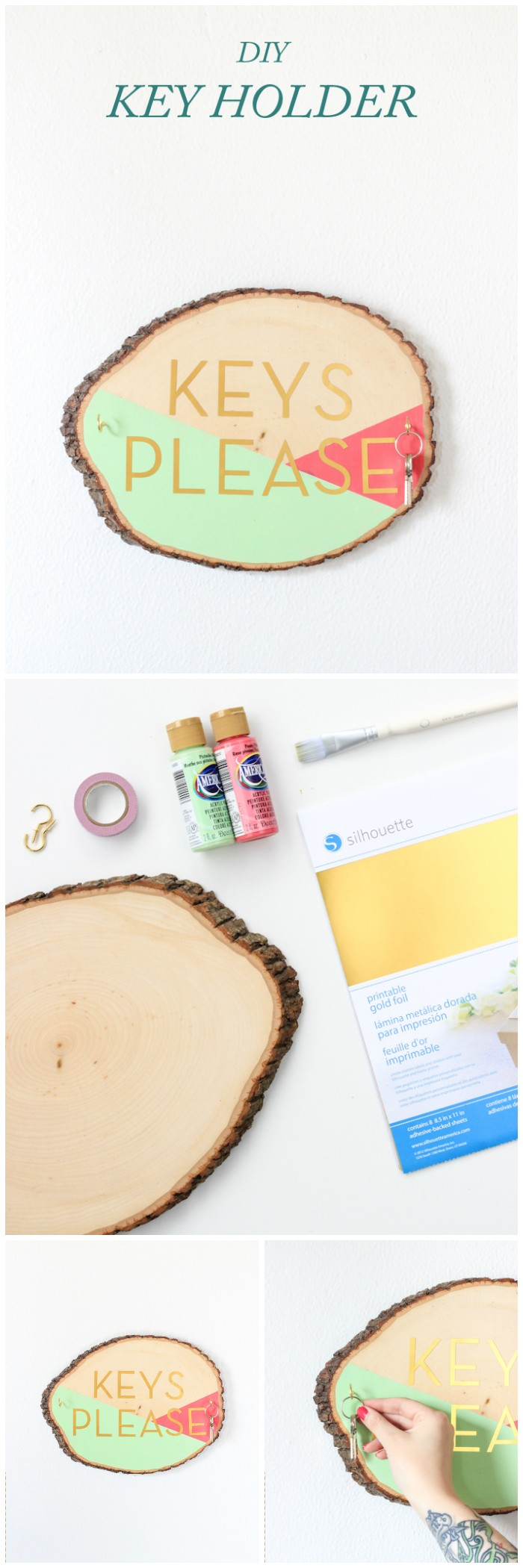 DIY Wooden Slab Key Holder