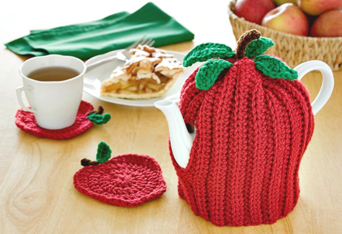 Apple Tea Cozy Coasters - crochet cozy
