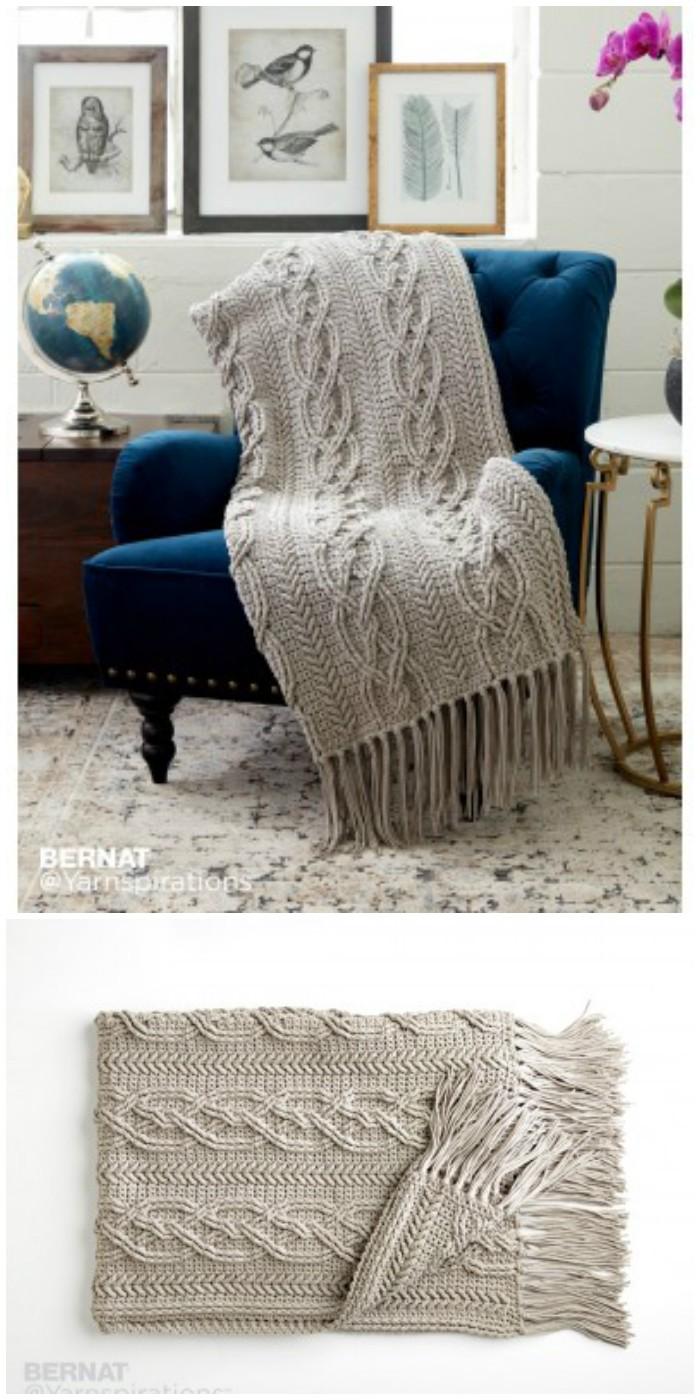 Crochet Cablework Blanket Free Intermediate Pattern - crochet blanket
