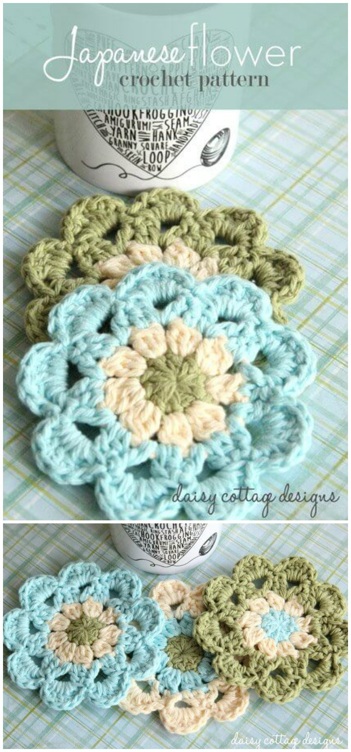 Crochet Coasters Set – Japanese Flower Motif Free Crochet Coaster Patterns For Your Home