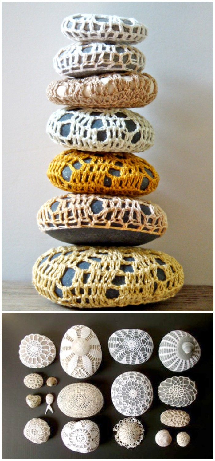 Crochet Covered Sea Stones - crochet home decor