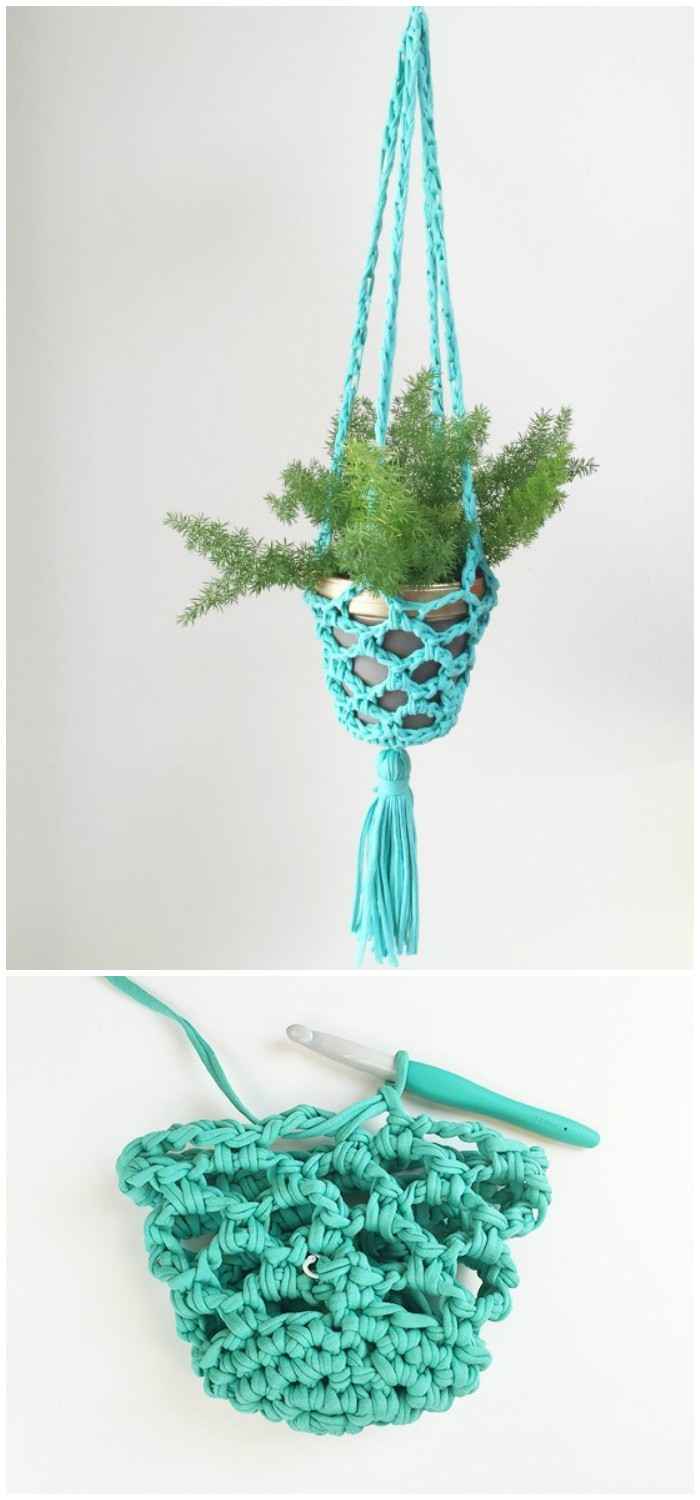 Crochet Hanging Planter - crochet home decor