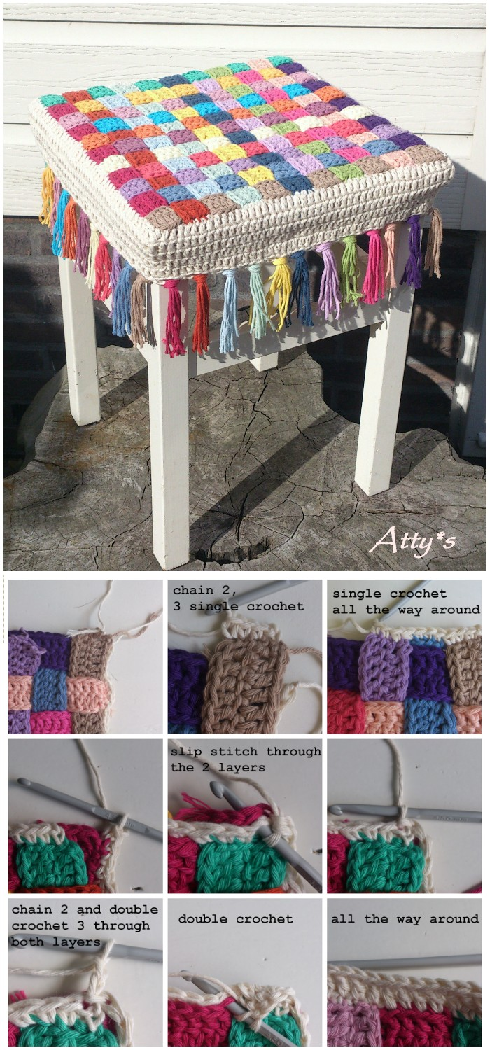 Crochet Stool Cover - crochet home decor