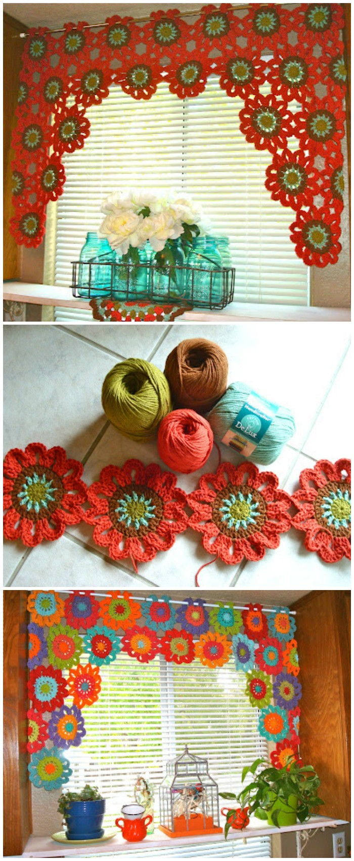 Flower Power Valance Tutorial - crochet curtain