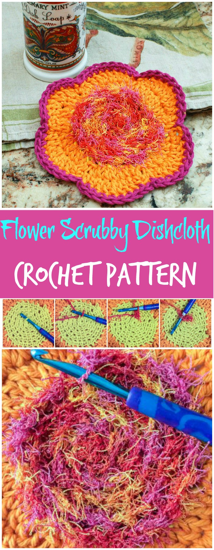 Flower Scrubby Dishcloth Crochet Pattern