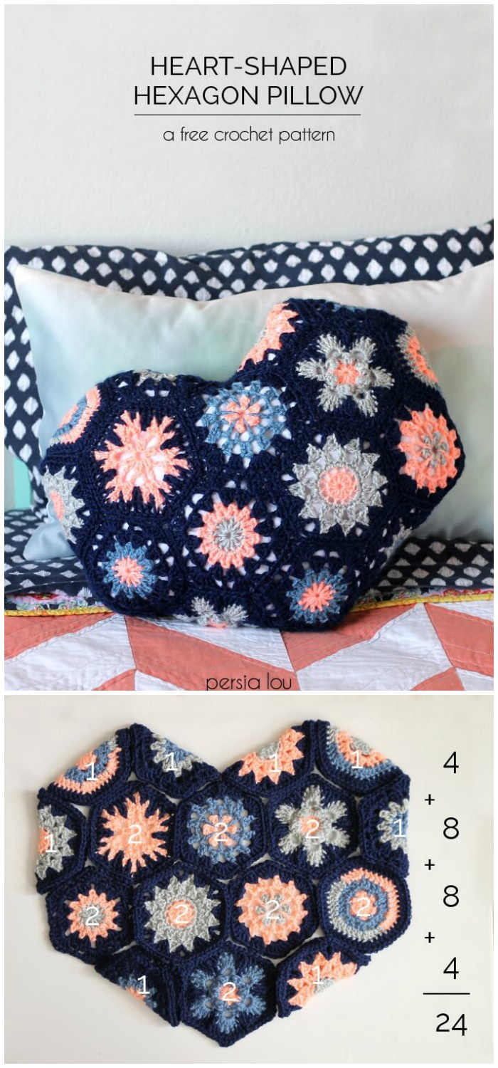 Heart Hexagon Pillow - crochet home decor