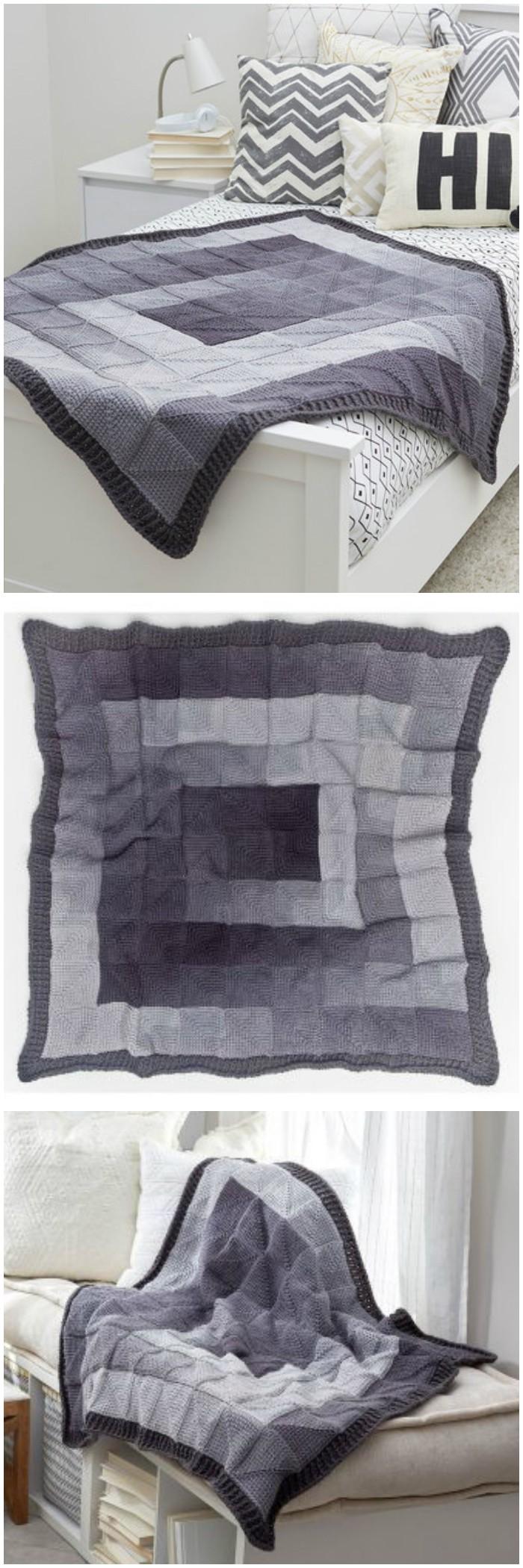 Modern Squares Throw Free Knitting Pattern - crochet blanket