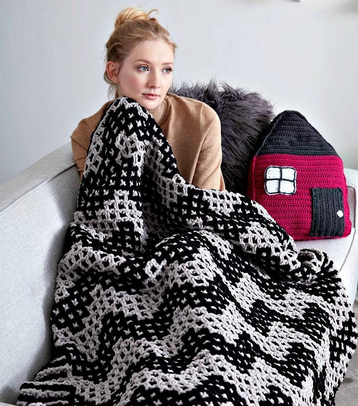 Mosaic Chevron Knit Blanket Free Crochet Pattern - crochet blanket