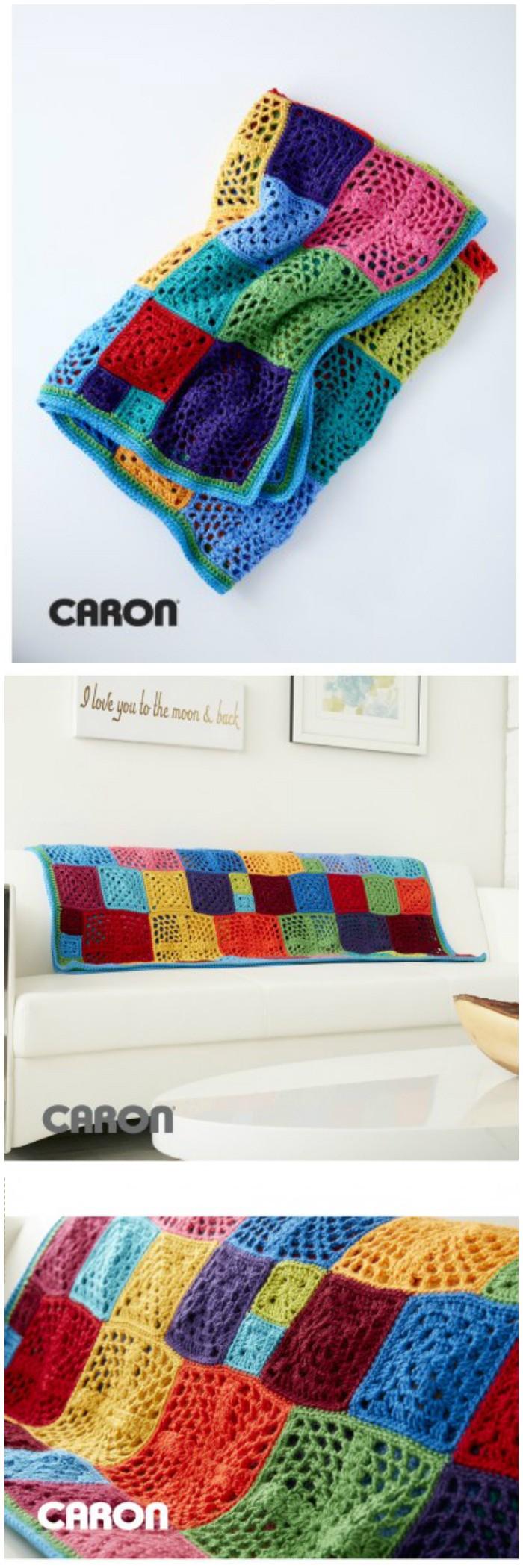 Motif Afghan Free Crochet Pattern - crochet blanket