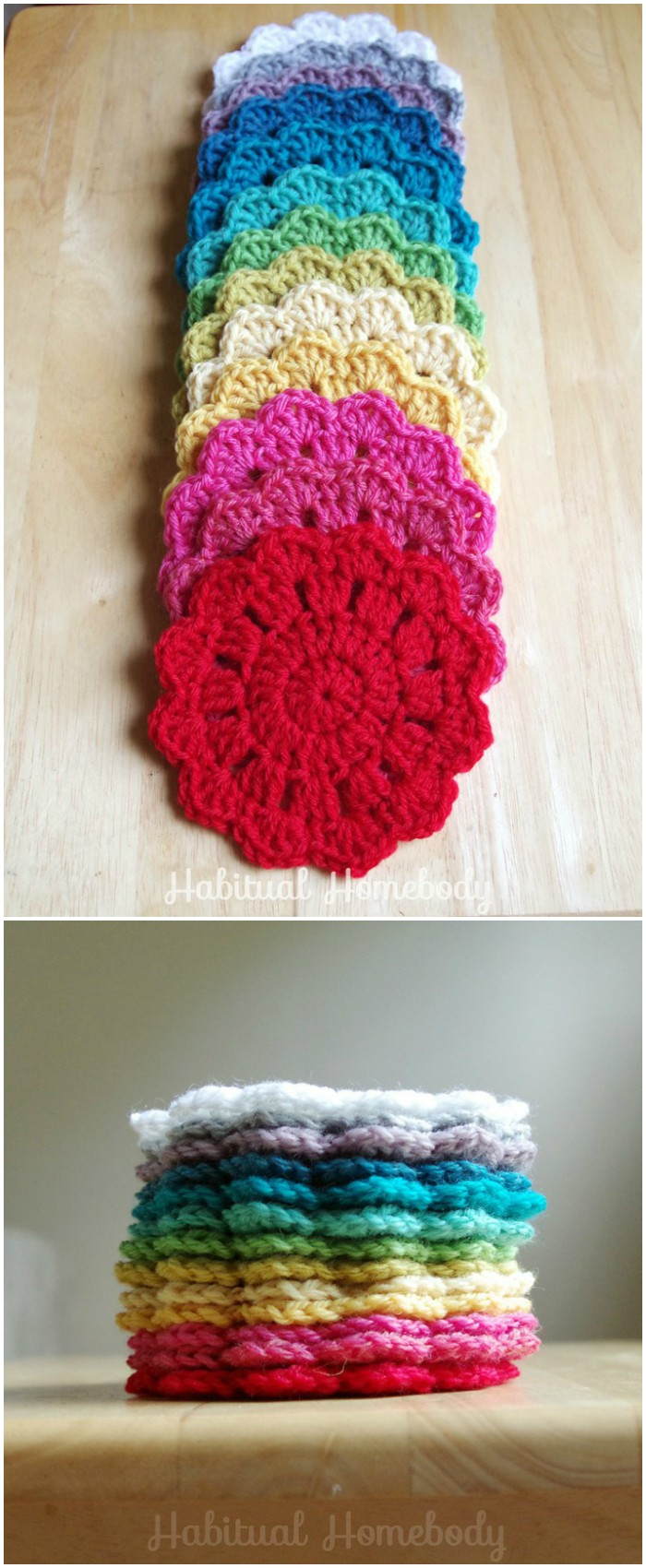 Rainbow Crochet Coasters