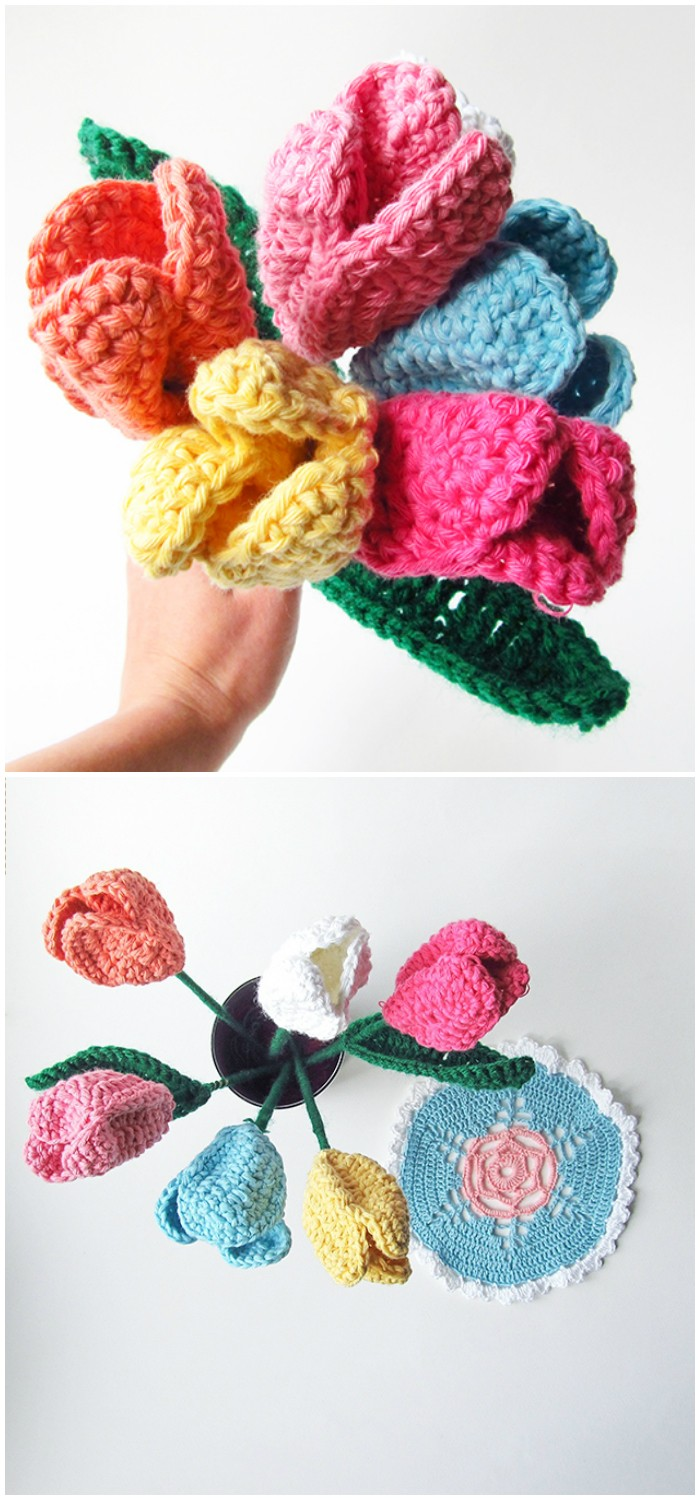 Spring Tulips - crochet home decor