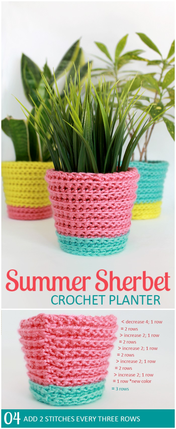 Summer Sherbet Crochet Planter - crochet home decor