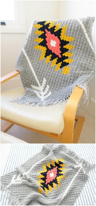 Sunburst c2c crochet afghan