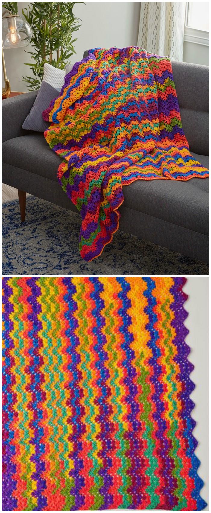 Vibrant Stripes Throw Free Crochet Pattern - crochet blanket