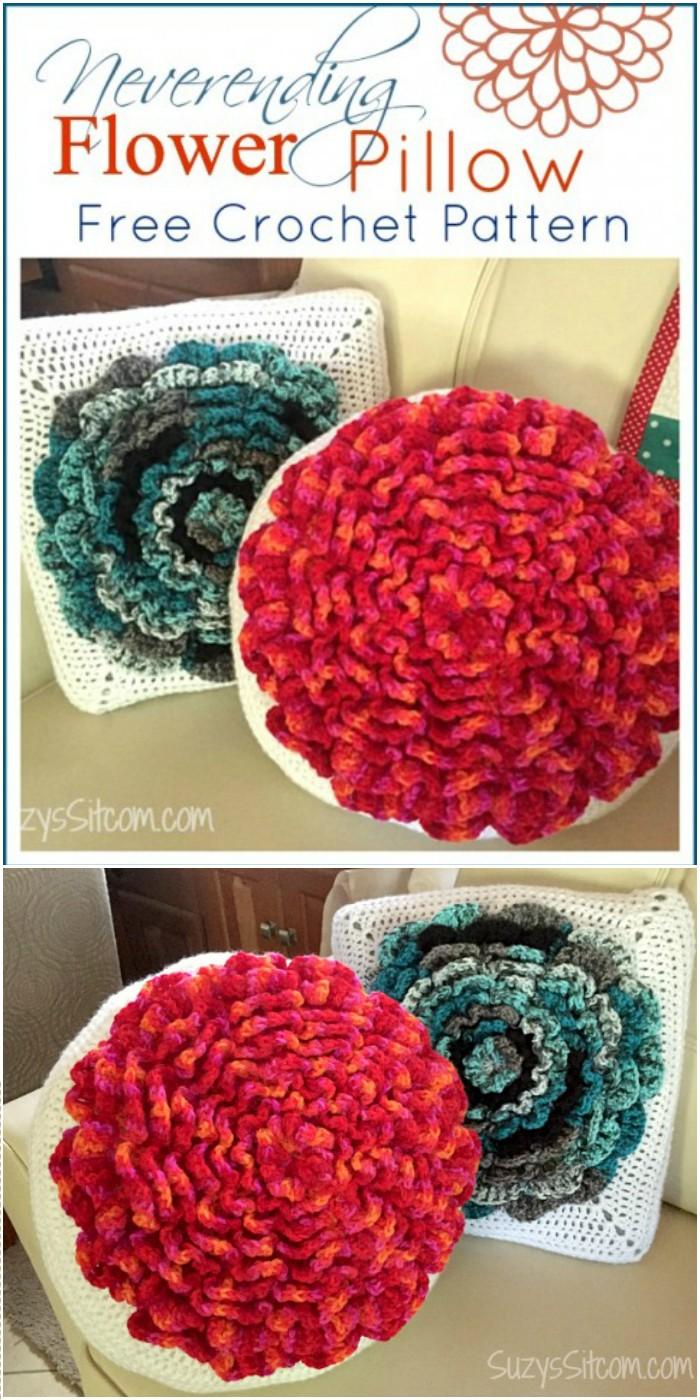 Never-ending Flower Pillow Crochet Pattern
