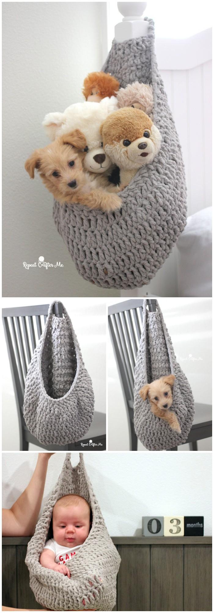 Crochet Hanging Sack Basket