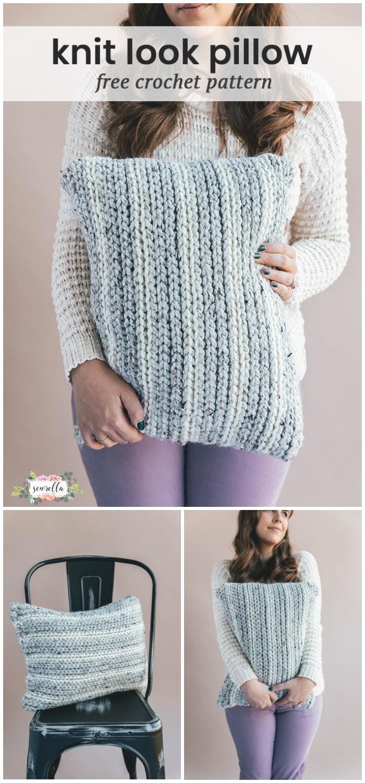 Crochet Knit Look Pillow