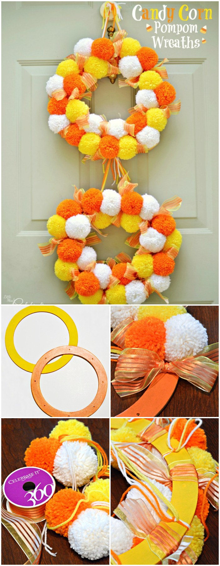 Candy Corn Pompom Wreaths