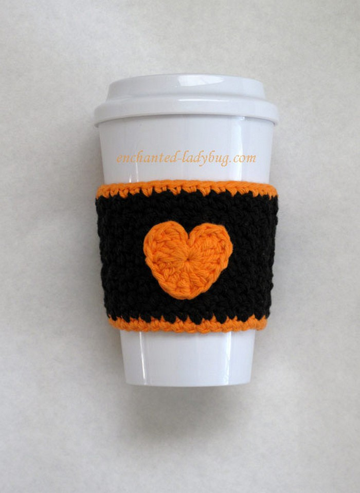 Crochet Heart Coffee Cup Cozy