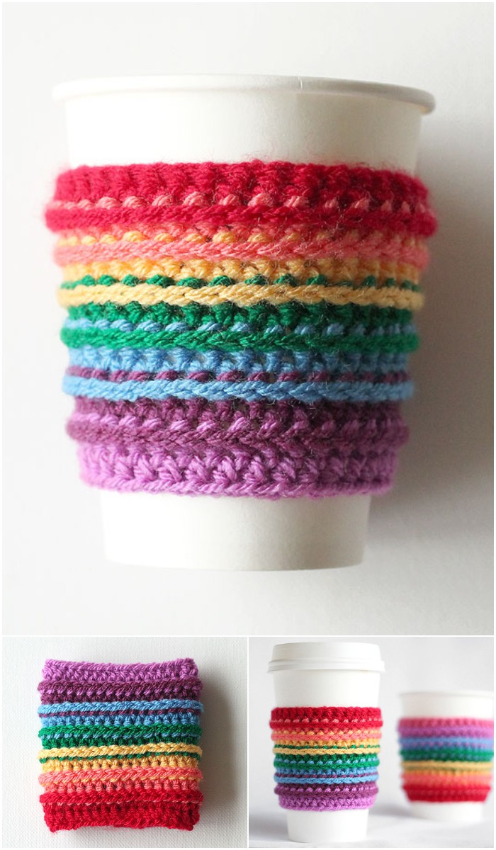 How to Crochet a Rainbow Cup Cozy